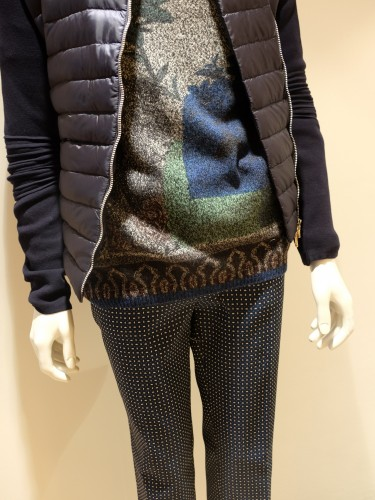 Jacket Moncler, swater and pants ETRO