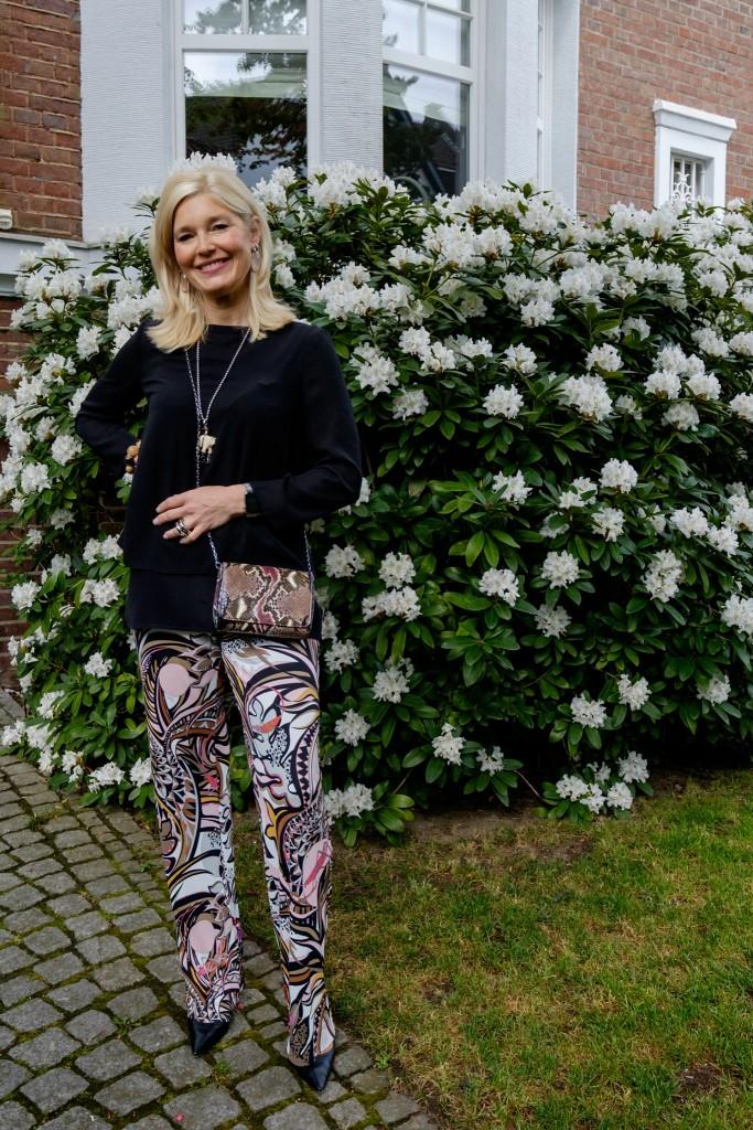 Pucci, gemusterte Hose, Jersey Hose, Abendoutfit, Abend Look, evening look, evening style, Modeblog, Fashion Blog, Fashionblog, Lieblingsstil