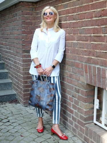 Please Jeans, striped pants, gestreifte Hose, rote Schuhe, red shoes, Gucci, Modeblogger, Bloggerstyle, Fashionblog, Lieblingsstil