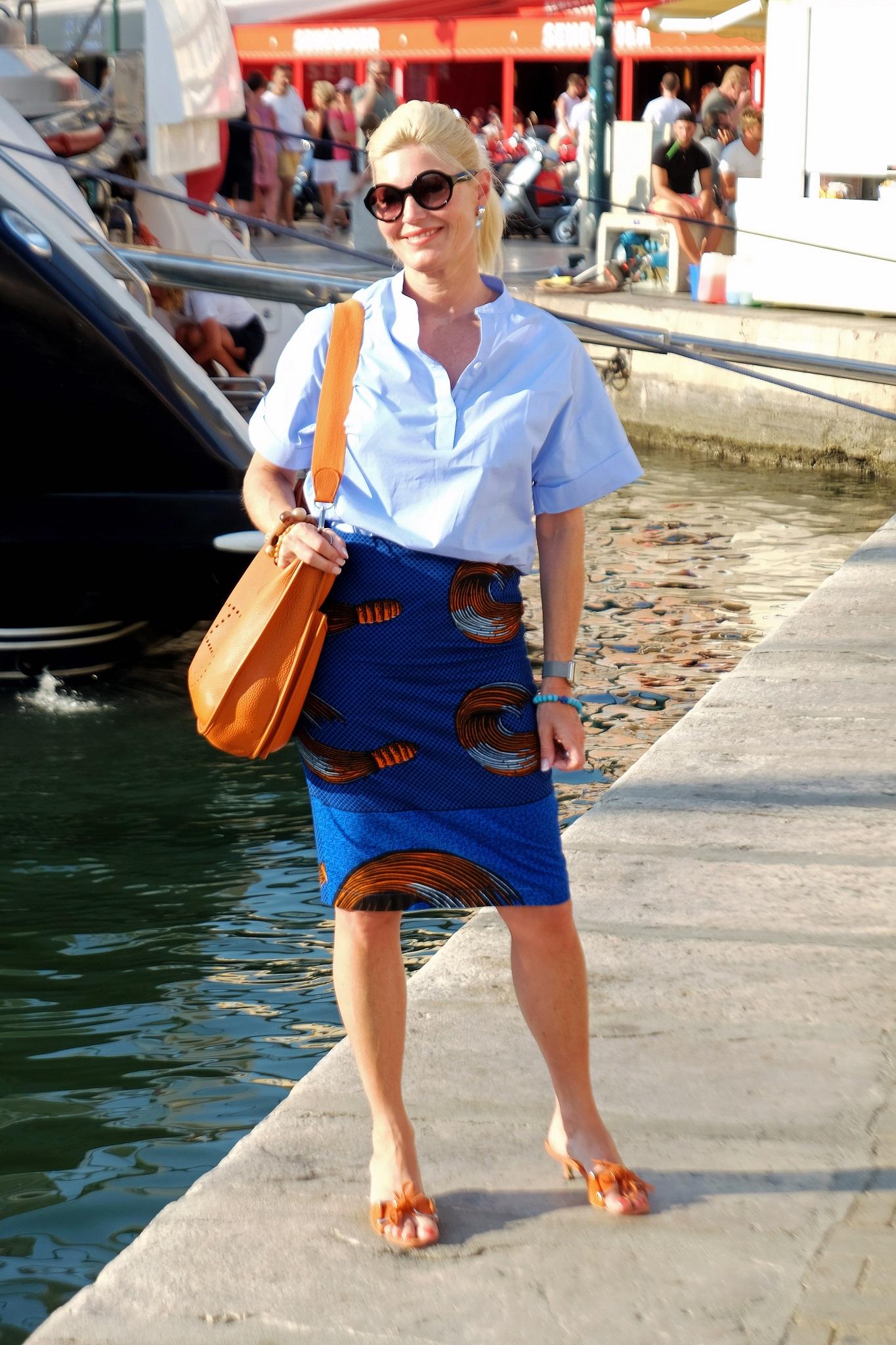 Lieblingsstil collection, skirt blau orange, Oversizebluse hellblau, Rock blau orange, Oversize blouse light blue, fashion blog, Modeblog, Lieblingsstil