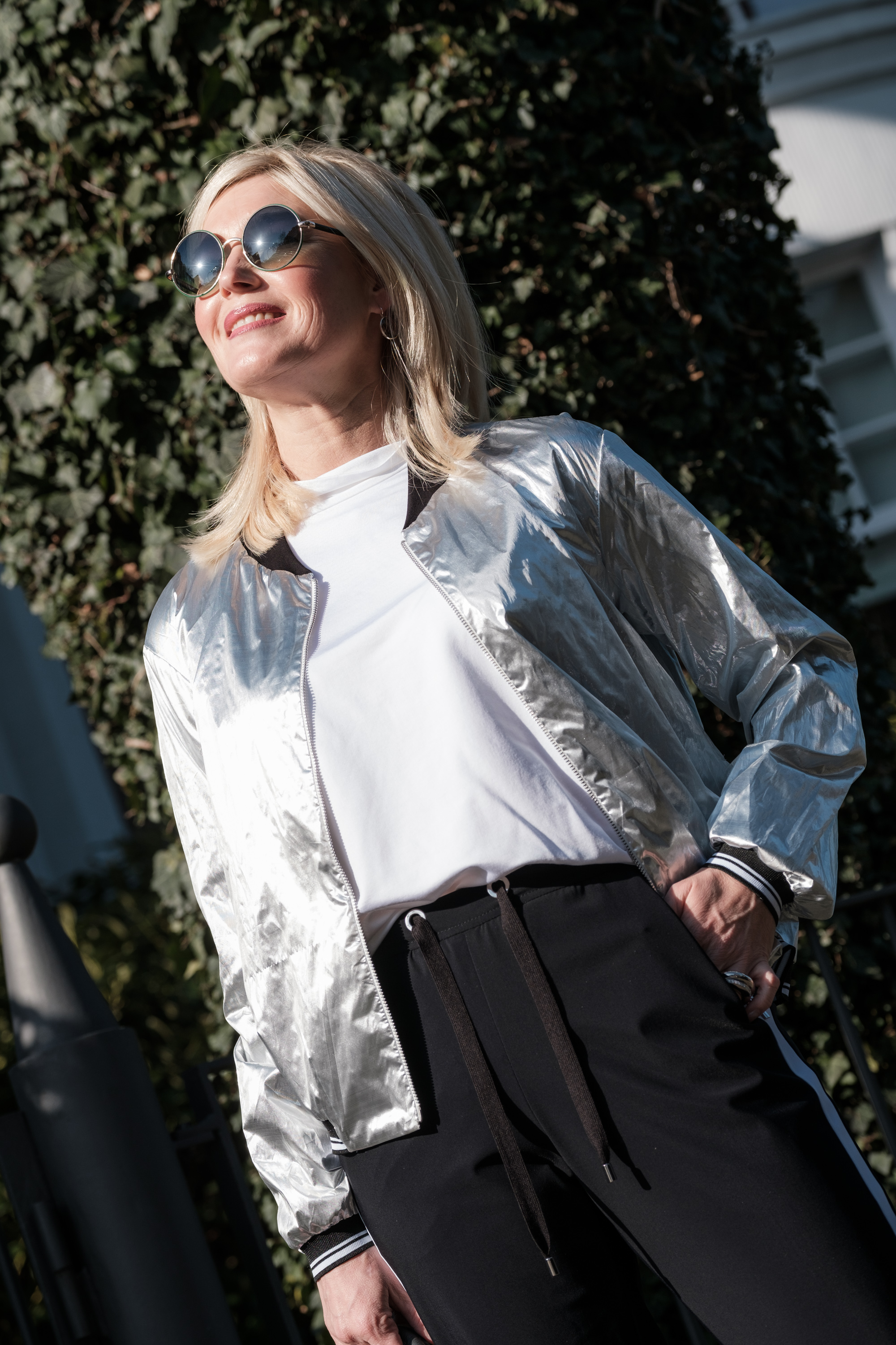 Minx Mode, Blouson silber, trackpants, DeutscheModedesigner, fashion-blog, Lieblingsstil.com.de