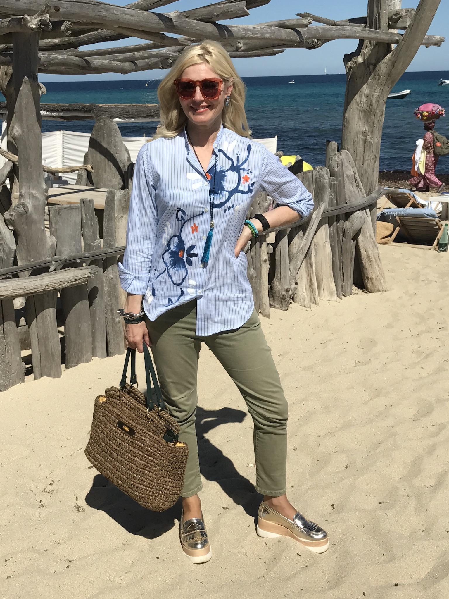 Alessandro Gherardeschi Shirt, blau weiß gestreigte Bluse, painted blouse, Please Jeans, Eddi Rodriguez Sneakers, Fashion-Blog, Lieblingsstil.com