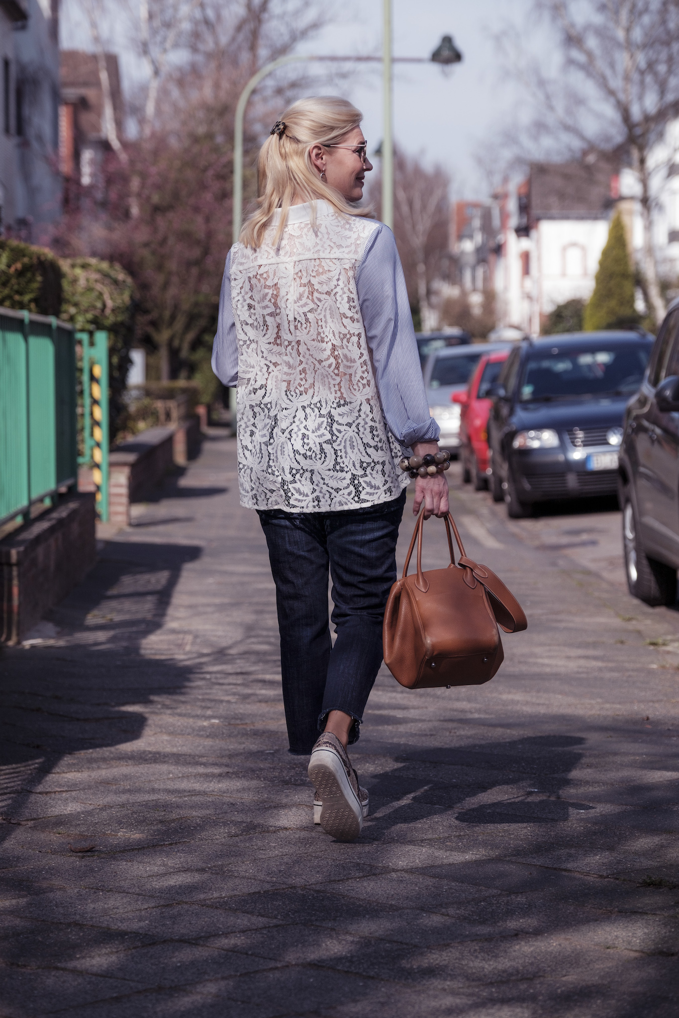 Sem Per Lei Mode, SemPerLei fashion, blau weiß gestreifte Bluse mit Spitze, Fashion-Blog, Lieblingsstil.com,