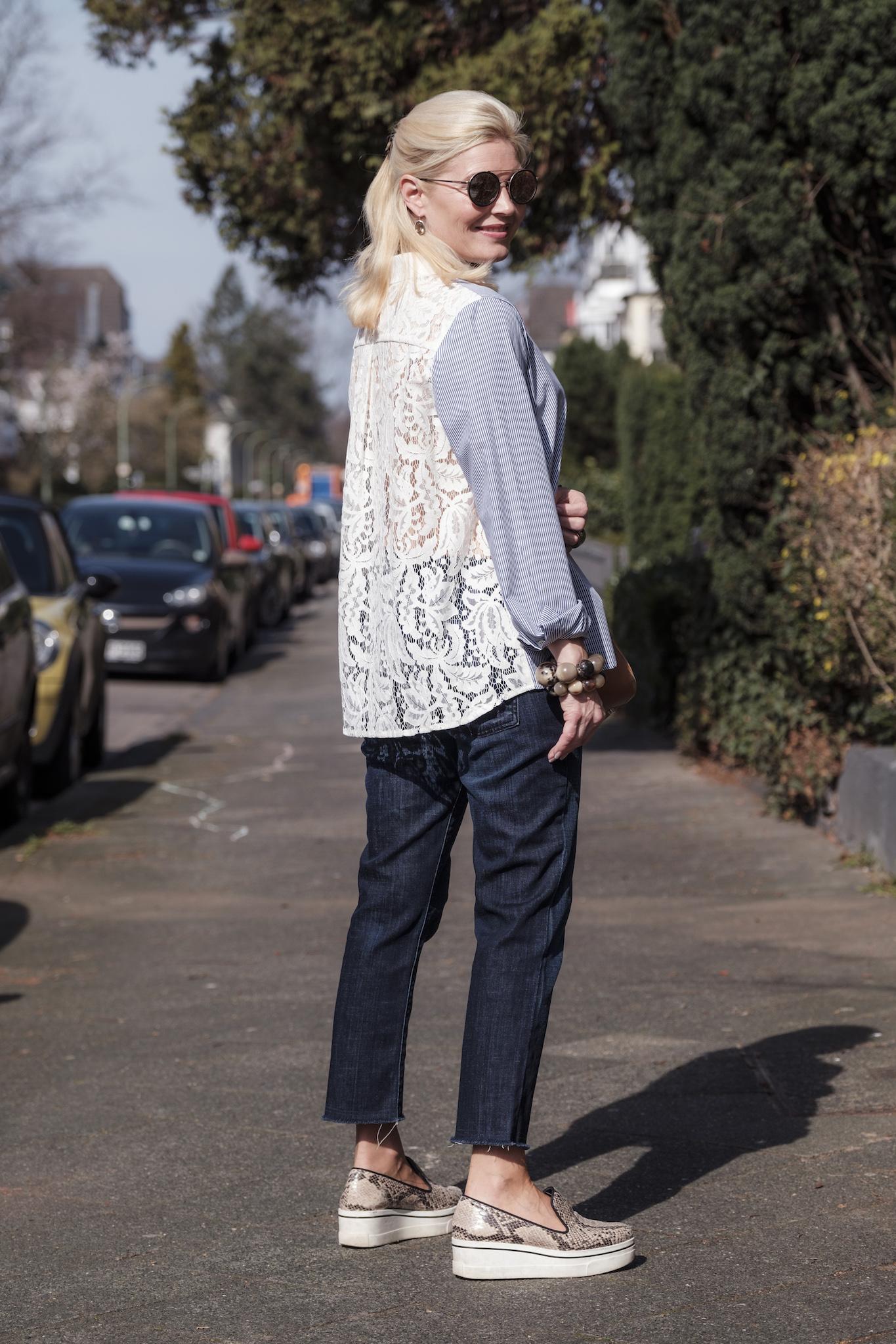 Sem Per Lei fashion, SemPerLei Mode, Fashion-Blog Lieblingsstil, gestreifte Bluse blau weiß mit Spitze, Fashion-Blog, Lieblingsstil.com,1
