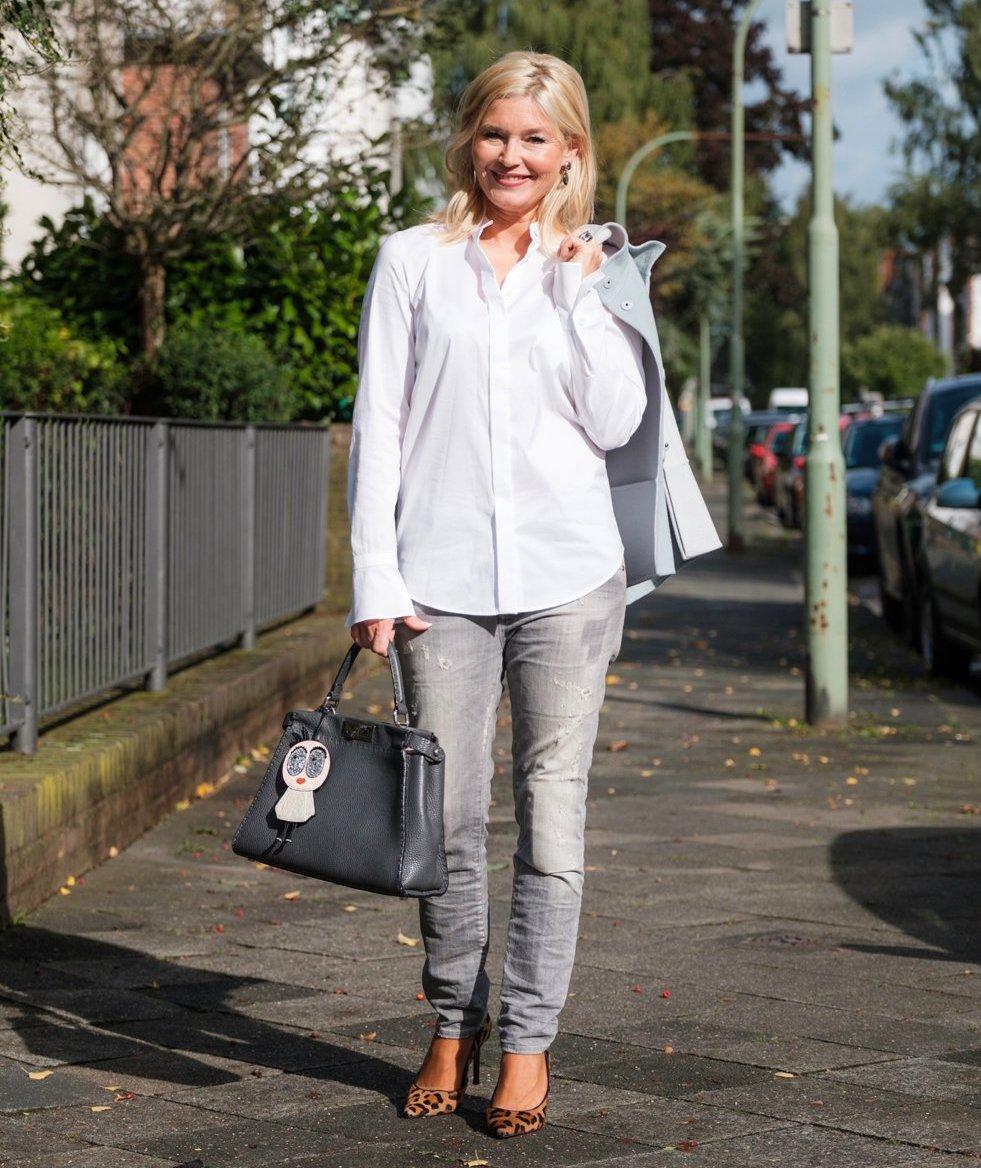 Strenesse, Strenesse Bluse Stehlragen, Strenesse weiße Bluse, Petra Dieners, Fashion-Blog, Lieblingsstil.com,