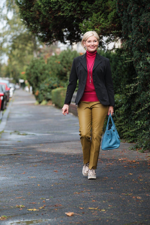Neue Farbtöne im Herbst, Kontraste in der Mode setzen, Dorothee Schumacher Lederhose, Fashion-Blog, Lieblingsstil.com,